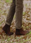 Chocolate Brown Suede & Leather Zip Ankle Boots PR9816LB1816