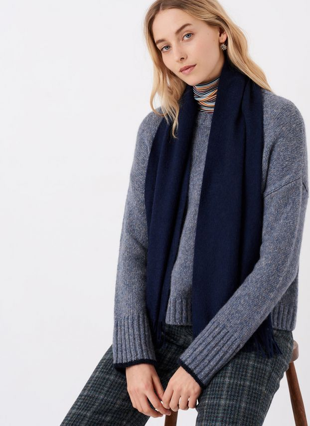 French Navy Cashmere Scarf AKB/A6021