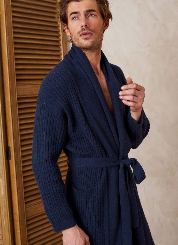 French Navy Cashmere Cable Knit Dressing Gown AP219A6021