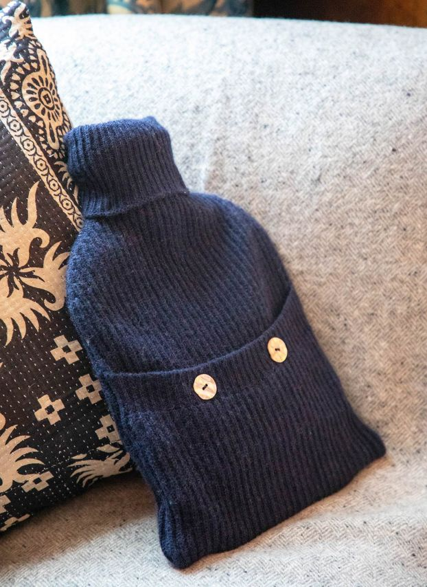 French Navy Cashmere Hot Water Bottle Cover DQ134/A6021