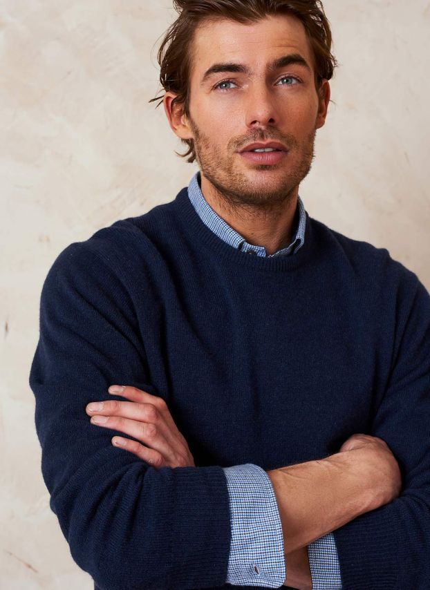 French Navy Cashmere Classic Round Neck Jumper MPJ13A6021