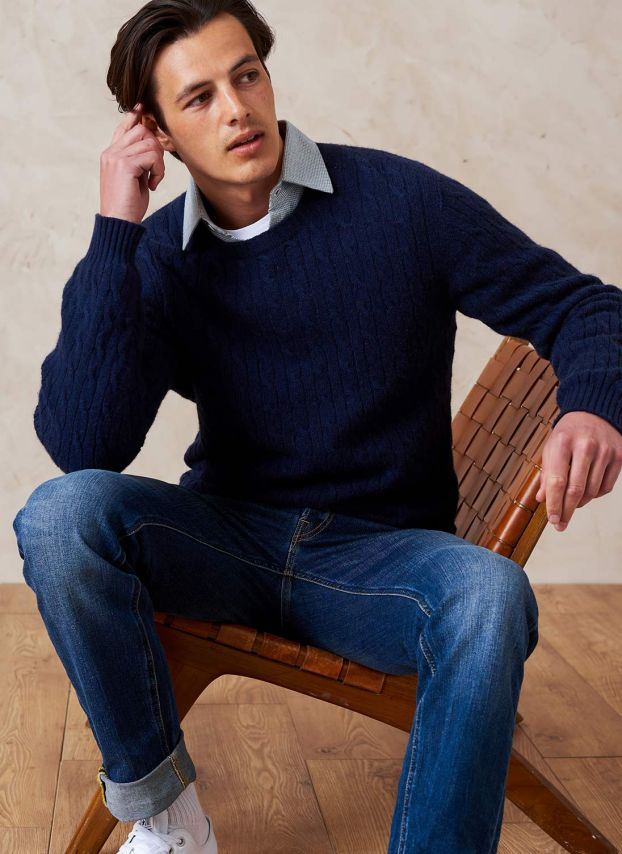 French Navy Cashmere Cable Knit Jumper MPJ21A6021