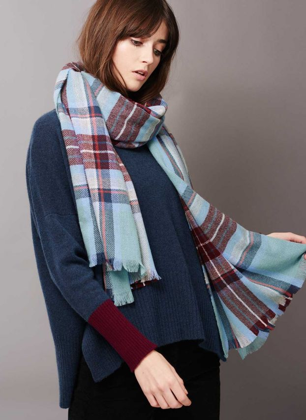 Duck egg & ink Cashmere Plaid Stole AYV06/GH9809