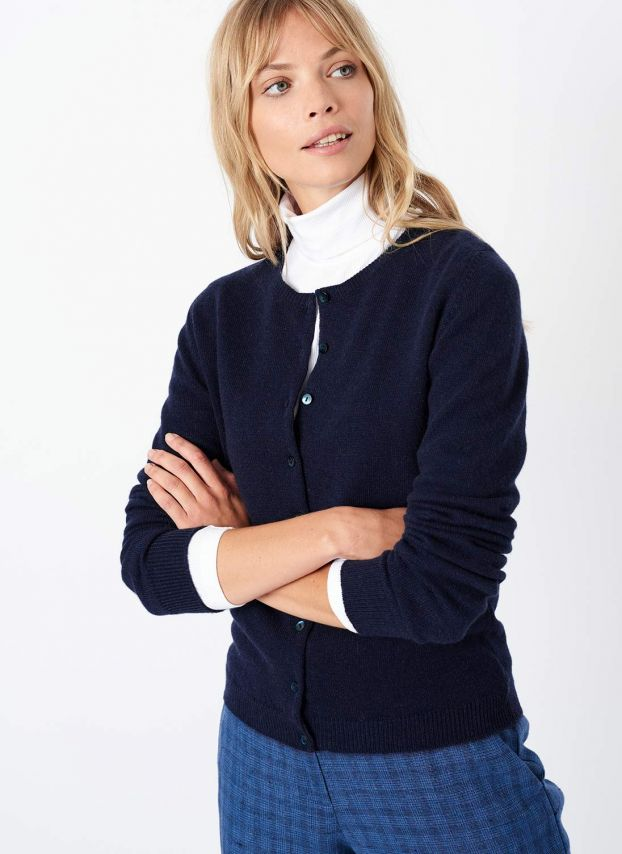 French Navy Cashmere Classic Cardigan CWPC1A6021