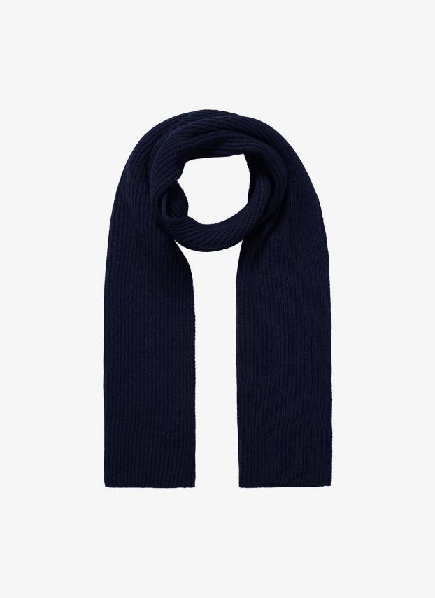 French Navy Cashmere Ribbed Scarf DQ132/A6021