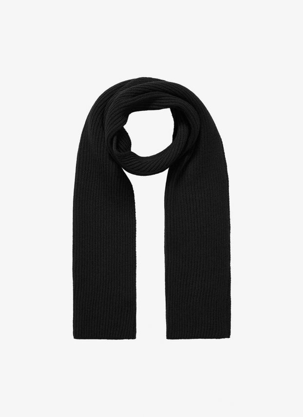 Charcoal Cashmere Ribbed Scarf DQ132/A700