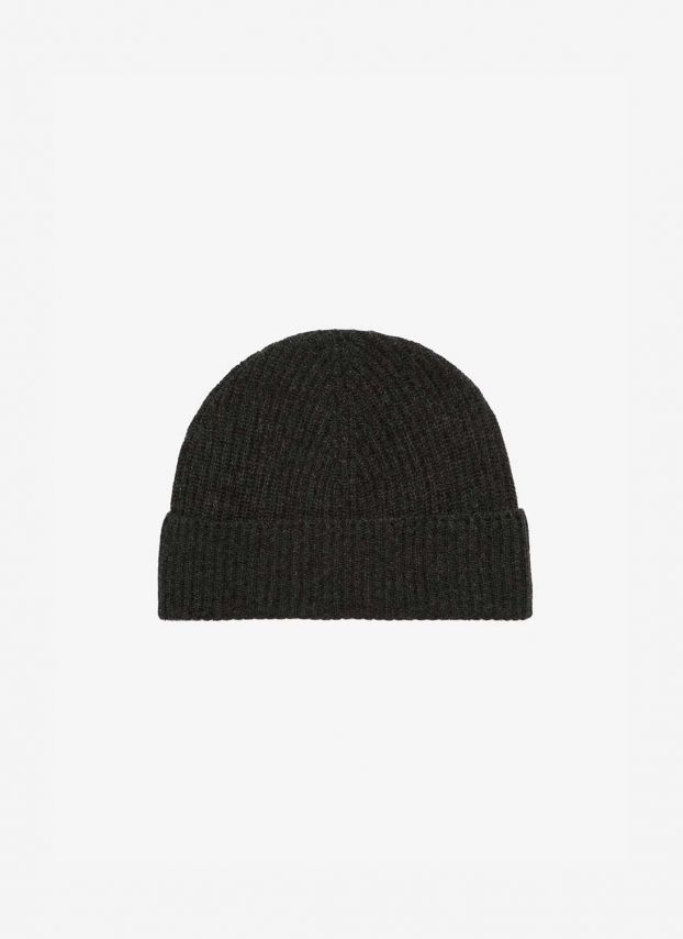 Charcoal Cashmere Ribbed Hat DQ178/A700