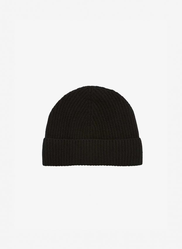 Black Cashmere Ribbed Hat DQ178/A900