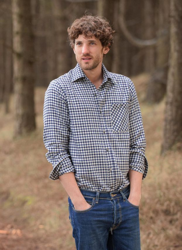 French Navy Brushed Cotton Gingham Shirt MS1816LB9806