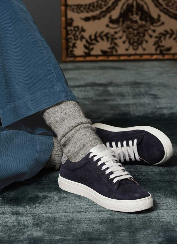 Navy & silver Suede & Metallic Trainers PR1815MG1873