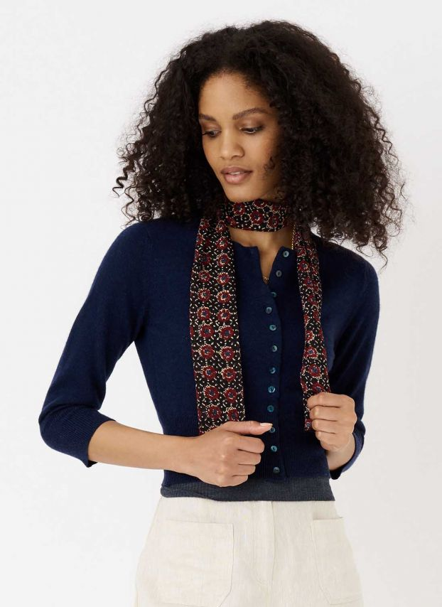 French Navy Cashmere Cropped Cardigan LQ933A6021