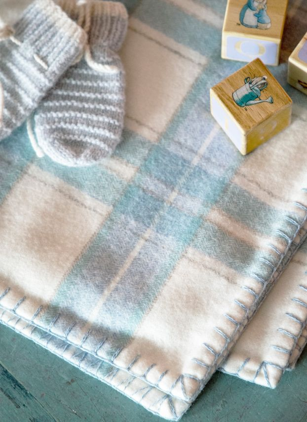 Duck Egg Check Cashmere Baby Blanket YBC/LB9725