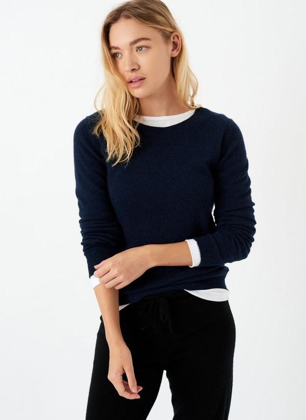 French Navy Cashmere Classic Round Neck Jumper WPJ523A6021