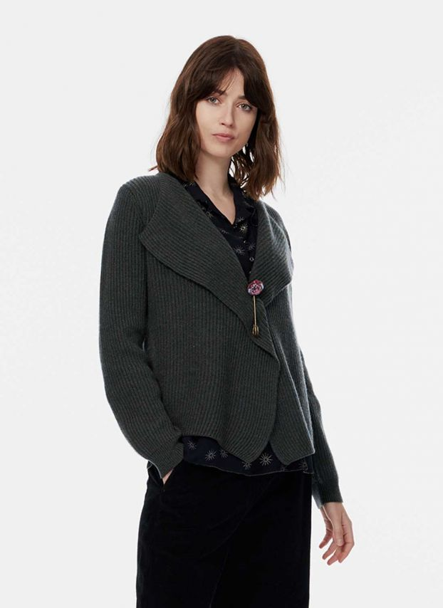 Pine Cashmere Ribbed Jacket WQC47LB1872