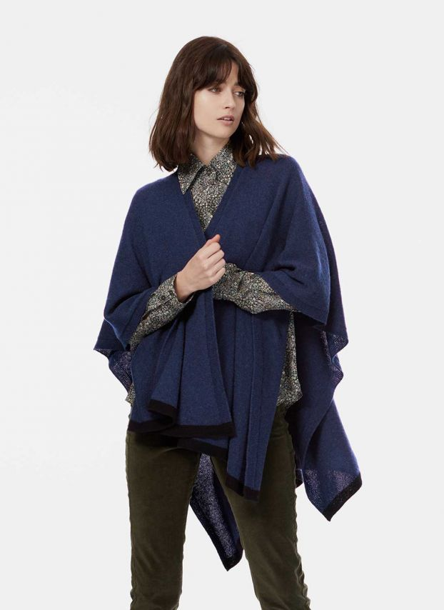 French Navy Cashmere Contrast Trim Cape WQC840/LK1891