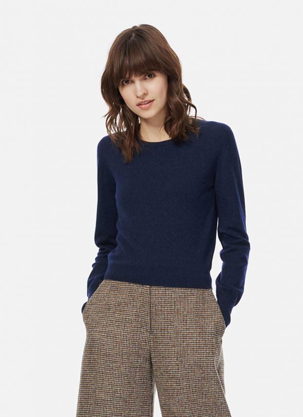 French Navy Cashmere Cropped Jumper WQJ788A6021