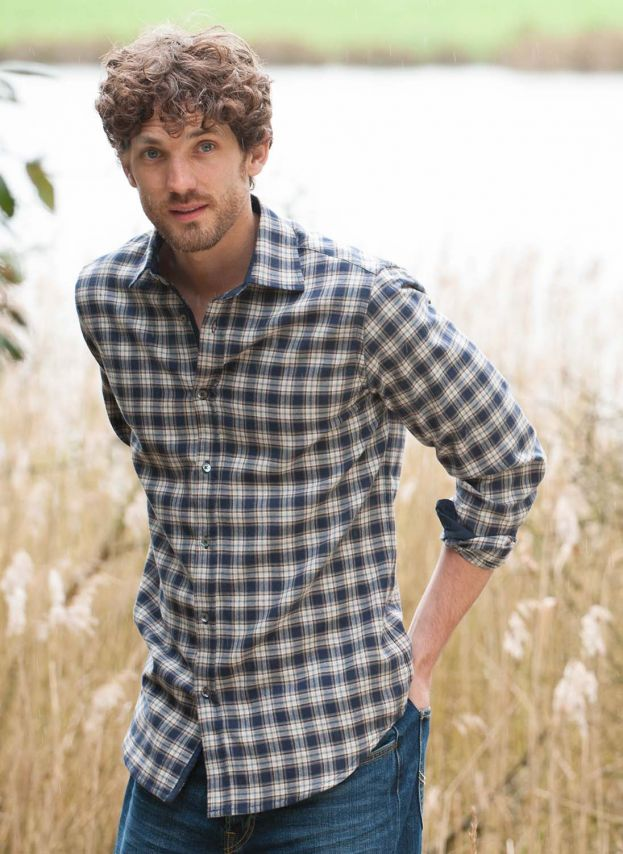 Navy & Pewter Brushed Cotton Check Shirt MS1813VS1896