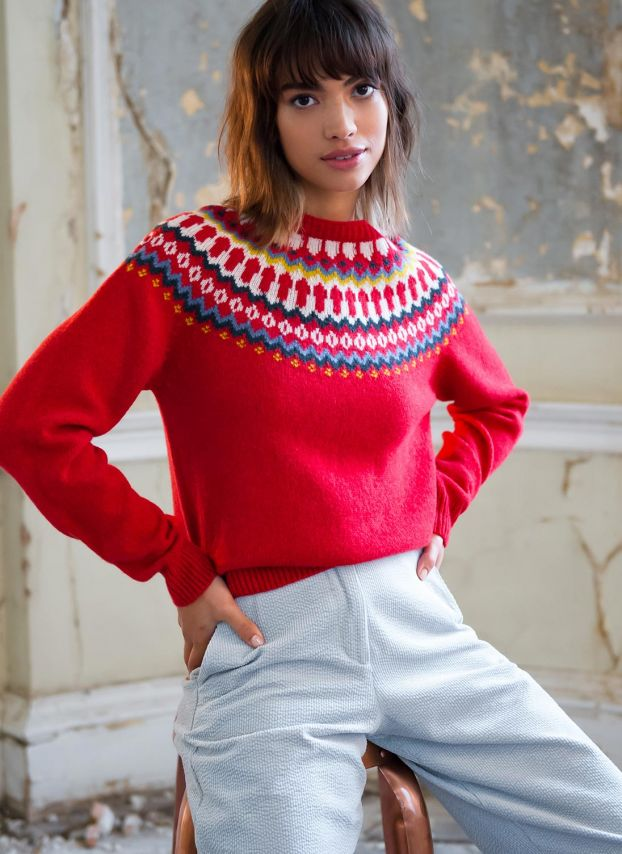 Flame Supersoft Lambswool Fair Isle Jumper SLJ2130GH2171