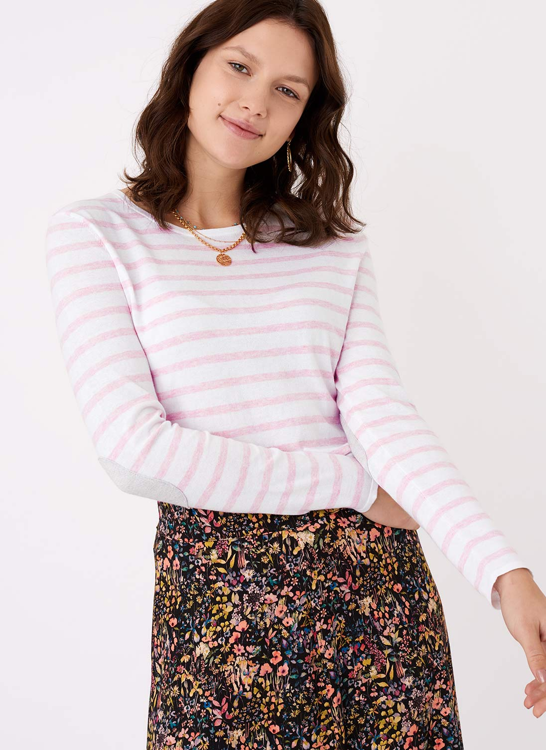 Cotton Knit Elbow Patch T-Shirt White & blossom