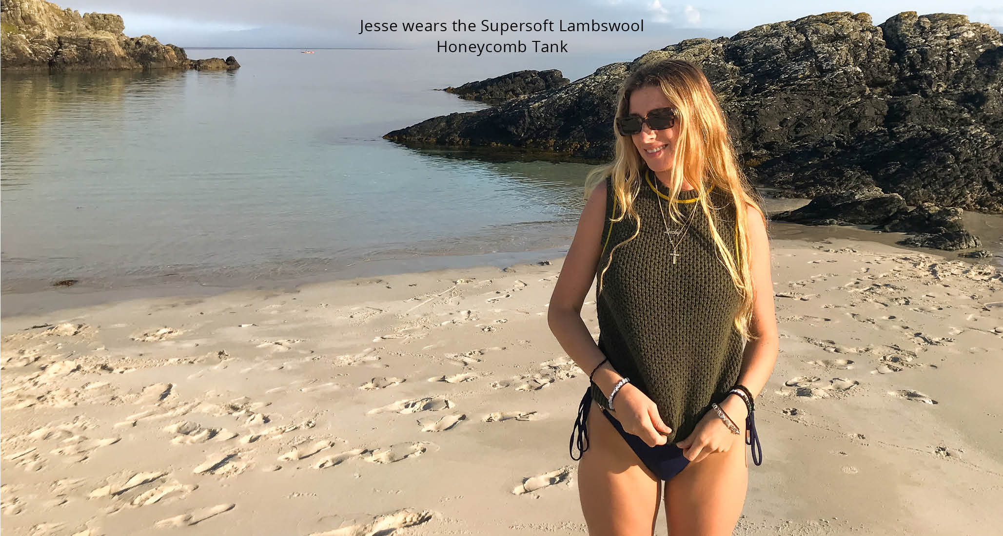 Jesse wears the Supersoft Lambswool Honeycomb Tank