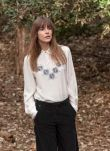 Cross Stitch Embroidered Silk Blouse