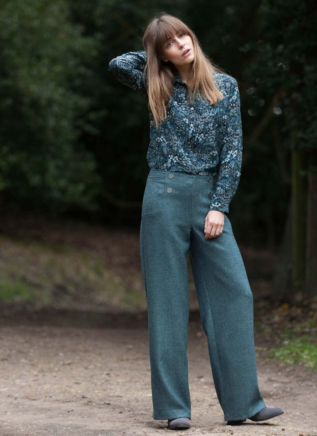 Tailored Wool Wide Leg Trousers