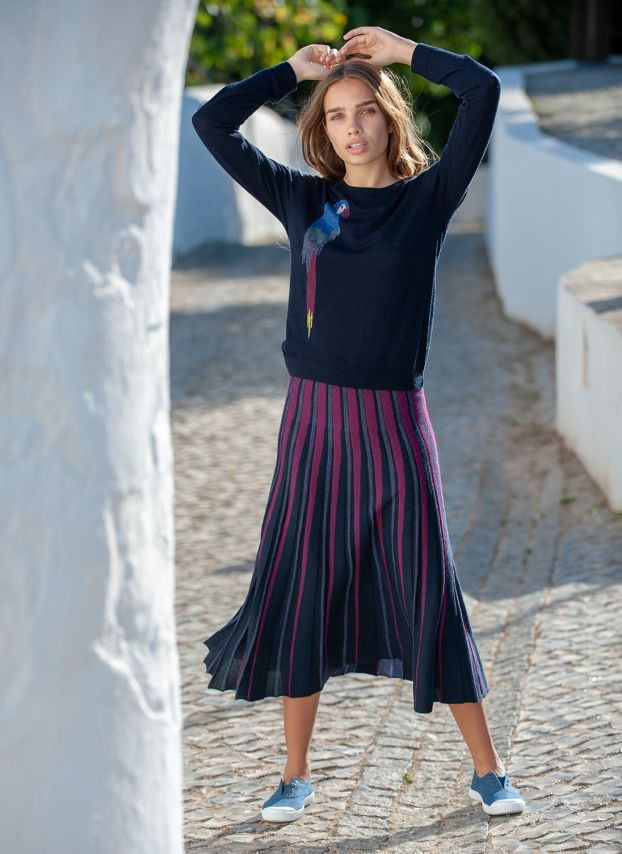 Merino Knit Stripe Skirt