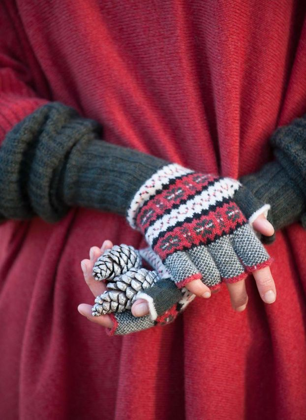 Cashmere Folk Fingerless Gloves