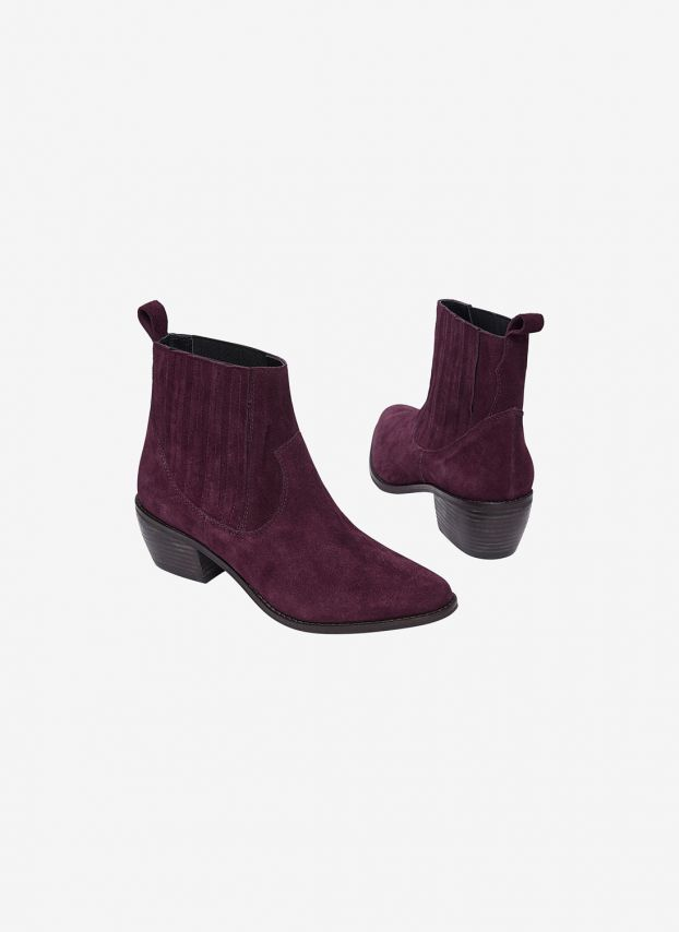 Suede Cowboy Ankle Boots