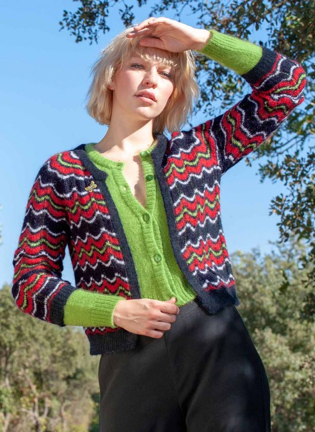 Mohair Wave Knit Cardigan