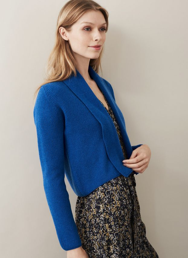 Electric Blue Cashmere Ribbed Jacket WQC623D4111