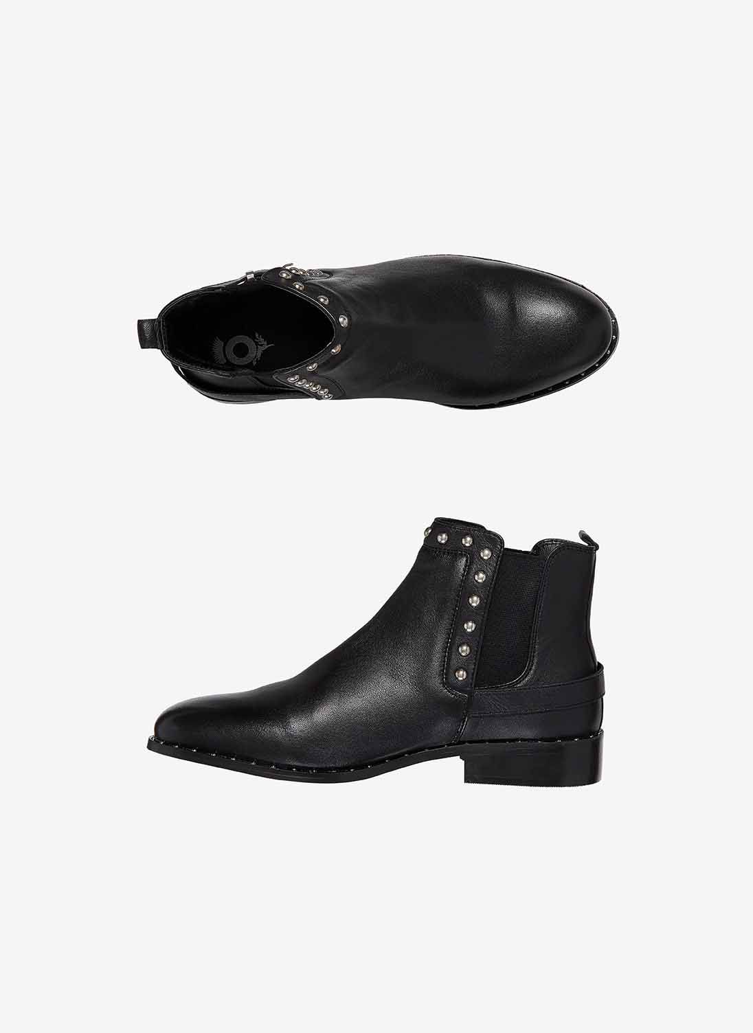 Black Leather Studded Chelsea Boots | Brora