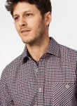 Port & Navy Gingham Brushed Cotton Shirt MS9901FL9928