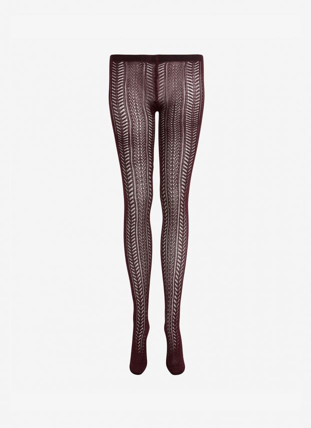 Burgundy Cashmere Lace Knit Tights WK003H7049B