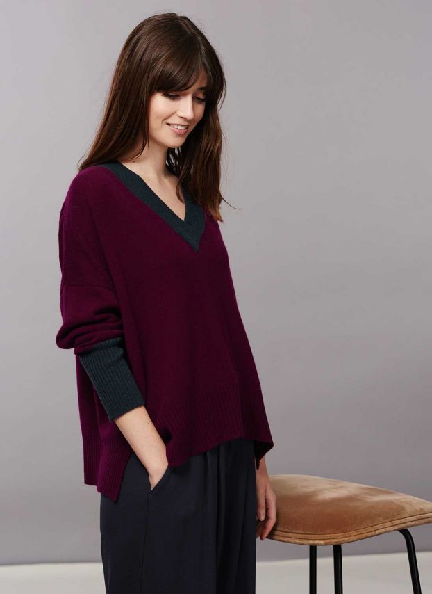 Port & ink Cashmere Slouchy V Neck Jumper WQJ856LK9835