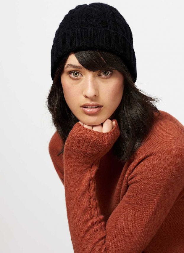 Black Cashmere Cable & Rib Hat CP324/A900