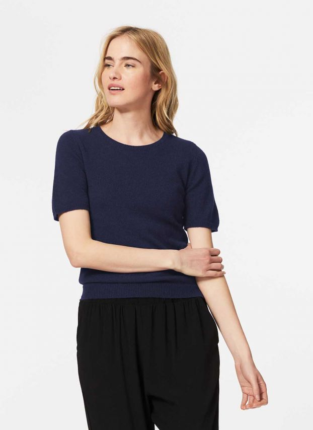French Navy Cashmere Classic T-Shirt CWPJ3A6021