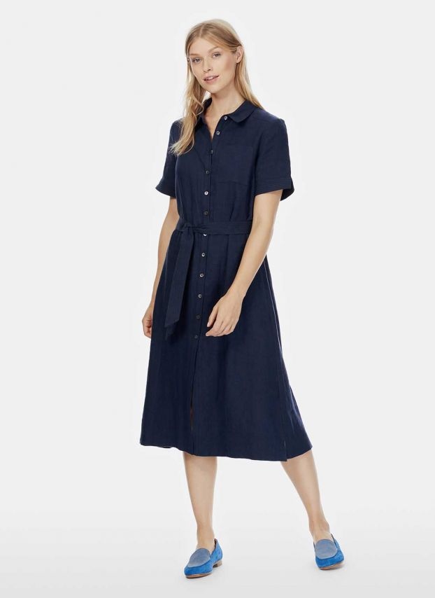 Navy Linen Shirt Dress DD1888FL1814