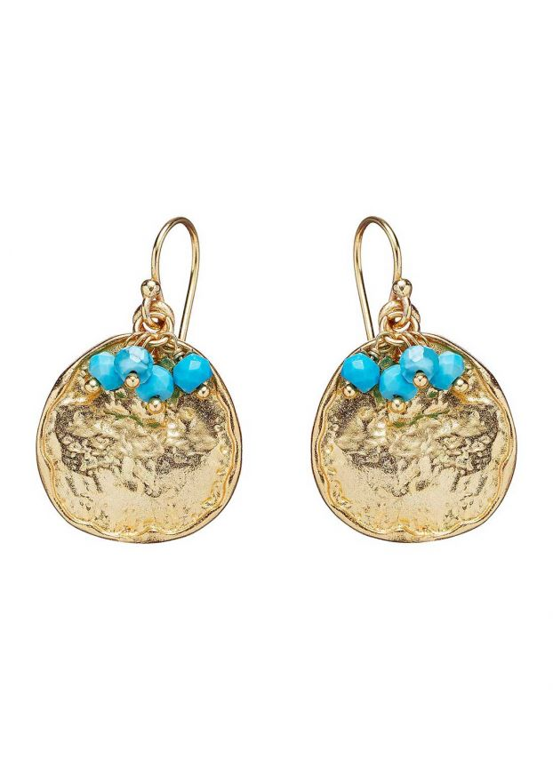Gold & Turquoise Gold Disc & Turquoise Earrings JE1802/MG1812