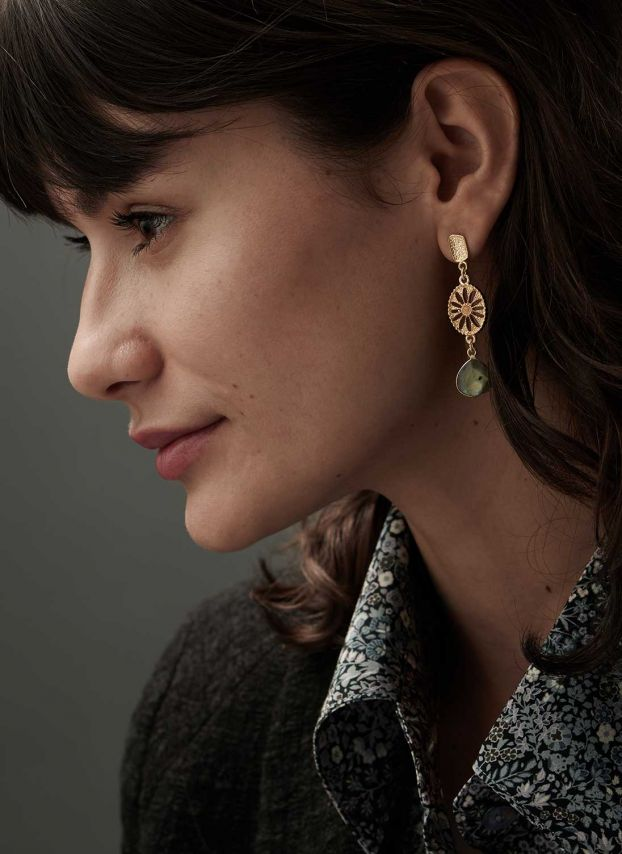 Lovat & Gold Vintage Pendant Earrings JE9848/MG9848