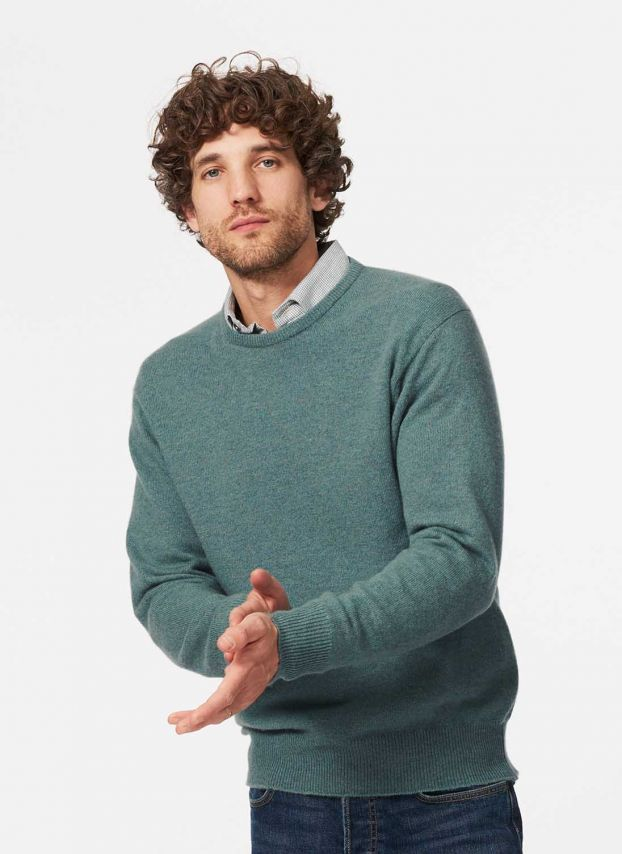 Green Lovat Cashmere Classic Round Neck Jumper MPJ13H328