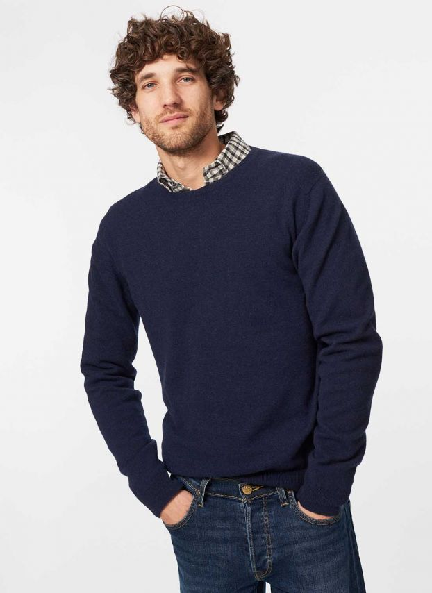 French Navy Cashmere Fine Round Neck Jumper MQJ08A6021
