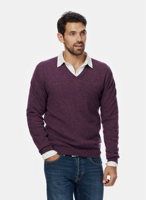 Thistle Cashmere Fine V Neck Jumper MQJ09HD7089