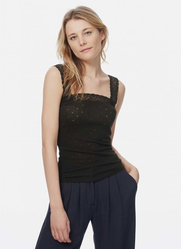 Black Lace Trim Camisole TH1601A900