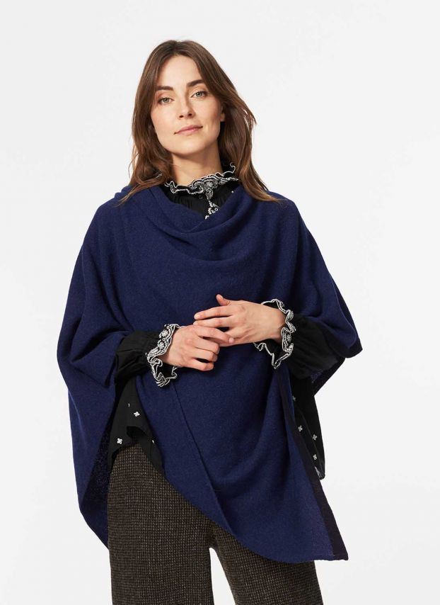 French Navy Cashmere Poncho WQC627/LB9902